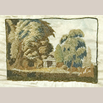 "Fig. 3. Sampler by Sarah Childress (1803–1891), 1818, Salem Female Academy, Salem, NC. Silk, silk chenille, watercolor, and ink on silk; HOA: 12-1/4"", WOA: 14 1/2"". Collection of the James K. Polk Home, Columbia, TN; Tennessee Sampler Survey file TSS 022, online: https://www.tennesseesamplers.com/viewsampler.php?samp_id=022 (accessed 2 June 2019)."