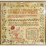 "Fig. 13. Sampler by Mary E. Halfacre (1835–1901), 1850, Union Academy, Franklin, Williamson Co., TN. Silk and wool on linen; HOA: 23-1/4"", WOA: 24-3/4"". Private collection; Tennessee Sampler Survey file TSS 008, online: https://www.tennesseesamplers.com/viewsampler.php?samp_id=008 (accessed 2 June 2019)."
