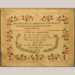 "Fig. 18. Sampler by Emily W. May (1826–1840), 1834, Mr. and Mrs. Hunt's Female Academy, Gallatin, Sumner Co., TN. Silk and wool on linen; HOA: 17-1/4"", WOA: 22-1/4"". Private collection; Tennessee Sampler Survey file TSS 106, online: https://www.tennesseesamplers.com/viewsampler.php?samp_id=106 (accessed 2 June 2019)."