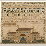 "Fig. 23. Sampler by Rachel Frances Spears (1842–1863), 1857, Odd Fellows Female Institute, Hipshire Hollow, Hawkins Co., TN. Silk on linen; HOA: 16"", WOA: 17"". Private collection; Tennessee Sampler Survey file TSS 143, online: https://www.tennesseesamplers.com/viewsampler.php?samp_id=143 (accessed 2 June 2019)."
