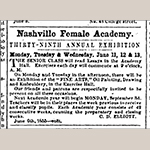 Fig. 25. Advertisment for the Nashville Female Academy, 39th Exhibition, Tennessean (Nashville, TN), 8 June 1855, 2.