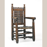 "Fig. 1: Armchair, previously attributed to South Carolina, 1685-1700; re-attributed to Southeastern Virginia, 1640-1660. Cherry with hickory seat lists; HOA: 41-1/4"", WOA: 23"", DOA: 16-1/4"". Collection of the Museum of Fine Arts, Houston, Bayou Bend Collection, Acc. B.98.19."
