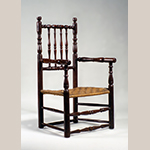 "Fig. 2: Armchair, 1680-1700, Southeastern Virginia. Cherry; HOA: 41-3/4"", WOA: 23-1/2"". Collection of the Museum of Early Southern Decorative Arts, Acc. 3899."