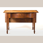 "Fig. 1: Bedroom table (or single-leaf table) by John Shearer, 1798, Martinsburg, Virginia (now West Virginia). Walnut with yellow pine; HOA: 28-3/4"", WOA: 45"", DOA: 17-1/4"" (closed), 34-3/4"" (open). Collection of Linda Quynn Ross, MESDA photograph."