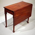 "Fig. 3: Bedroom table, ca. 1760, Scotland or England. Mahogany; HOA 27.5"", WOA 32-1/2"", DOA 16-1/4"" closed, 32"" open. Private collection, photograph courtesy Antiques & Fine Art, Inc."