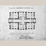 "Fig. 9: Bedroom and attic plans for Dumfries House, 1754, signed ""Jn, Rbt & Jas Adam."" Royal Commission on the Ancient and Historical Monuments of Scotland (RCAHMS), 43609 (1754)."