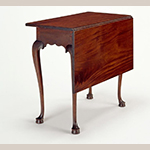 "Fig. 14: Bedroom table (or single-leaf table) attributed to George Bright, 1760–1775, Boston, Massachusetts. Mahogany with birch and white pine; HOA: 27-3/4"", WOA: 31-7/8"", DOA: 16-1/2"" (closed), 31-7/8"" (open). Collection of the Concord Museum, Acc. F0907."