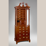 "Fig. 25: Cabinet on chest (or lady's closet) attributed to Robert Deans and Henry Burnett (carver), 1750–1755, Charleston, South Carolina. Mahogany with cypress; HOA: 53-1/4"", WOA: 35-1/4"", DOA: 18-3/4"". Collection of the Museum of Early Southern Decorative Arts (MESDA), given in memory of Polly and Frank Meyers by Mr. and Mrs. George Kaufman, Acc. 4215."