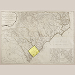 "Fig. 2: Charleston District highlighted on ""An Accurate Map of North and South Carolina with their Indian Frontiers…,"" surveyed by Henry Mouzon and Louis Delarochette, engraved by Samuel Turner, published by Robert Sayer and John Bennett, 1775, London, UK. HOA: 40"", WOA: 57-1/2"". MESDA Acc. 3024.3; Gift of Frank L. Horton."