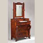 "Fig. 8: Dressing bureau by Thomas Day, 1850, Milton, NC. Mahogany and mahogany veneer with tulip poplar, yellow pine, and mahogany; HOA: 85-1/4"", WOA: 42"", DOA: 23"". MESDA Acc. 5399. Photograph by Wes Stewart."