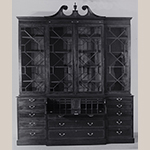 "Fig. 16: Library bookcase, 1790–1800, Charleston, SC. Mahogany and mahogany veneer with tulip poplar and white pine; HOA: 115-3/16"", WOA: 97-7/8"", DOA: 24"". South Carolina Governor's Mansion, Columbia, SC; MESDA Object Database file S-6789."