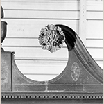Fig. 17: Detail of carved rosettes on the library bookcase illustrated in Fig. 16.