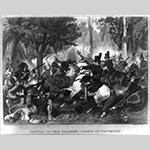 """Fig. 27: """"Battle of the Thames — Death of Tecumseh"""" after Alonzo Chappel, engraved by William Wellstood, 1857, published by Johnson, Fry & Co., New York. Steel engraving; dimensions not recorded. Library of Congress Prints and Photographs Division, LC-USZ62-16868 (b&w film copy neg.), Library of Congress, Washington, DC."""