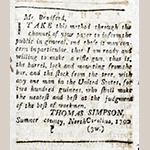 Fig. 28: Thomas Simpson advertisement, 26 July 1790, Kentucky Gazette (Fayette County, KY).