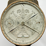 """Fig. 42: Surveyor's compass by Jonathan Simpson, 1819, Bardstown, KY. Brass, steel, silver, wood, and glass; LOA: 14-11/16"""", WOA: 6-5/8"""". MESDA Collection, Acc. 5629, James H. Willcox Jr. Silver Purchase Fund."""