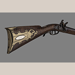 Fig. 44: Rifle made by Lewis Bryan or William Bryan for Joseph H. Kelly, 1800–1810, Lexington, KY. Maple, iron, steel, brass, and silver. Hankla Collection; on loan to MESDA, Acc. 5885.6.