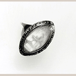 "Fig. 6: Mourning ring, 1779, Virginia. Inscribed on bezel ""Eliza Chinn OB 11 March 1779."" Materials and dimensions not recorded. Private collection; MESDA Object Database file S-20936."