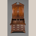 "Fig. 2: Desk and bookcase attributed to Robert Wilkins, 1755-1762, Norfolk, VA. Walnut with yellow pine, white cedar, and tulip poplar; HOA: 95"", WOA: 41"", DOA: 22-1/2"". MESDA Acc. 5786, MESDA Purchase Fund, gift of Janet Blocker and Patty and Bill Wilson."