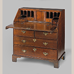 "Fig. 15: Desk by William Carwithen, 1730-1740, Charleston, SC. Walnut with cypress; HOA: 37-5/8; WOA: 35"", DOA: 19-5/8"". MESDA Acc. 4182."