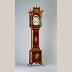 "Fig. 16: Tall case clock, ca. 1810, Pulaski Co., VA. Cherry with tulip poplar, oak, walnut, holly, maple, bone, horn, silver, iron, brass, and steel; HOA: 108-1/2"", WOA: 24"", DOA: 15"". Colonial Williamsburg Foundation Acc. 1996-107, A&B, Museum Purchase."