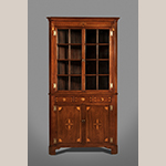 "Fig. 22: Corner cupboard attributed to the McAdams Family, 1800-1820, Washington Co., TN. Walnut with tulip poplar and holly; HOA: 92"", WOA: 48"", DOA: 29"". MESDA Acc. 5660.2."