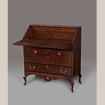 "Fig. 23: Sugar desk, 1800-1815, Mason Co., KY. Walnut with tulip poplar, cherry, holly, and maple; HOA: 39-7/8"", WOA: 35-3/4"", DOA (closed): 18"". Colonial Williamsburg Foundation Acc. 2014-197; Museum Purchase, Sara and Fred Hoyt Furniture Fund, TIF Foundation in memory of Michelle A. Iverson, Charles W. and Leslie M. Cantwell Memorial Fund, Antique Collectors' Guild, Nancy and Doug McFarland, and the Friends of Colonial Williamsburg Collections Fund."
