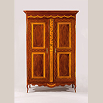 "Fig. 24: Armoire, 1800-1820, New Orleans, LA. Mahogany with tulip poplar, yellow pine, satinwood, holly, and maple; HOA: 91"", WOA: 61"", DOA: 23-1/8"". Colonial Williamsburg Foundation Acc. 2009-67; Museum Purchase, Sara and Fred Hoyt Furniture Fund."