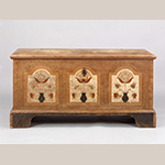 "Fig. 25: Blanket chest, 1810-1825, Wythe Co., VA. Tulip poplar, paint, iron; HOA: 26-2/3"", WOA: 52-1/4"", DOA: 23-1/8"". Winterthur Museum, Garden & Library Acc. 2010-46, Museum Purchase with funds provided by the Henry Francis du Pont Collectors Circle and partial gift of Roddy and Sally Moore."