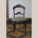 "Fig. 18: Chair, ca. 1845, attributed to New York, NY. Mahogany and mahogany veneer; HOA: 34"", WOA: 20"", DOA: 19"". Collection of Preservation Greensboro, Acc. 1978.038 .001; Gift of Mrs. James Lathrop Morehead; Photograph by the author."