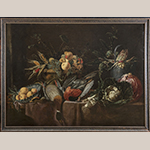 "Fig. 12: ""Large Fruit Piece,"" 18th-century copy in the manner of a 17th-century Dutch Master. Oil on canvas; HOA: 43""; WOA: 58"". Collection of Preservation Greensboro, Acc. 1978.170.001; Photograph by VanderVeen."