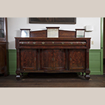 "Fig. 25: Sideboard, 1830-1840, possibly North Carolina. Mahogany and mahogany veneer with yellow pine; HOA: 64"", WOA: 82"", DOA: 23-1/2"". Collection of Preservation Greensboro, Acc. 1978.047.001; Gift of Mrs. James Lathrop Morehead; Photograph by VanderVeen."
