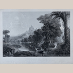 "Fig. 28: ""The Voyage of Life __ Youth"" engraved by James Smillie (1807–1885) after Thomas Cole (1801–1848), ca. 1855, printed by H. Peters. Ink on paper; HOA: 18-1/2"", WOA: 24-7/16"". Collection of Preservation Greensboro, Acc. 2002.025.001; Photograph by VanderVeen."