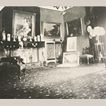 "Fig. 31: Photograph of Blandwood's west parlor, 1880s, taken during the time daughter Emma Victoria Morehead Gray occupied the mansion; the photo shows the paintings ""Youth"" and ""Manhood"" by William C. A. Frerichs hanging on the walls. Collection of Preservation Greensboro, Blandwood Archives."