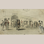 "Fig. 3: ""Drawn in the High Street at Edinbro, March 1st,1751"" by Paul Sandby. Pen and watercolor on paper; HOA: 4-13/16"", WOA: 8-1/4"". Collection of the British Museum, registration number Nn,6,67. © Trustees of the British Museum."
