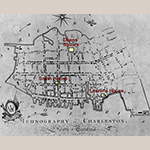 "Fig. 23: Location of Deans' Square and the Benjamin Smith and Henry Laurens houses highlighted on a detail from ""Ichnography of Charleston, South Carolina,"" published by Edmond Petrie, 1790, London. Ink on paper; HOA: 19-9/32"", WOA: 27-1/2"". Library of Congress, Geography and Map Division, Washington, DC, G3914.C3G475 1788 .P4."