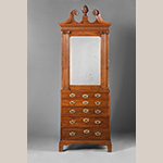 "Fig. 26: Lady's closet by Robert Deans and carved by Henry Burnett, 1750–1755, Charleston, SC. Mahogany with cypress; HOA: 53-1/4"", WOA: 35-1/4"", DOA: 18-3/4"". Collection of the Museum of Early Southern Decorative Arts (MESDA), Acc. 3522, Given in memory of Polly and Frank Myers by Mr. and Mrs. George Kaufman."