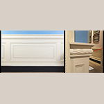 Fig. 4: White Hall chair rail and wainscoting (left; photo by Daniel Ackermann) and detail of the bulbous dado cap (right; photo by the author).