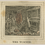 "Fig. 5: Engraving of a turner working in his shop from ""The Panorama of Professions and Trades: Or, Every Man's Book"" by Edward Hazen (Philadelphia, 1837)."