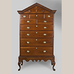 "Fig. 3: High chest on frame by William Needham, Shop of Henry Macy and Frederick Fentress, 1810–1820, Guilford Co., NC. Signed ""William Needham's Joiner Work."" Walnut with tulip poplar; HOA: 79"", WOA: 42-3/4"", DOA: 22-1/2"". Private Collection; MESDA Object Database file S-2511."