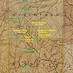 Fig. 5: Detail of map illustrated in Fig. 4 identifying locations of Quaker cabinetmakers in Guilford County and Quaker meeting houses in Guilford and Randolph counties.