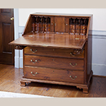 "Fig. 13: Desk possibly by Thomas Pierce, 1785–1795, Guilford Co., NC. Walnut with tulip poplar; HOA: 43-1/2"", WOA: 42-1/2"", DOA: 22-1/2"". Private Collection; MESDA Object Database file D-31643."