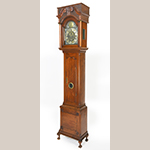 "Fig. 16. Tall case clock with case attributed to Jacob Brown and clock works by Benjamin Chandlee Jr., 1760–1775, Chester Co., PA. Walnut with tulip poplar; HOA: 99"", WOA: 21-3/4"", DOA: 12-1/4"". Collection of the Chester County Historical Society, West Chester, PA, Acc. CLX9; Gift of Helen Moore Downing; Photography by Laszlo Bodo."