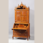 "Fig. 18: Desk and bookcase on frame attributed to David Osborne, 1780–1800, Guilford Co., NC. Walnut with tulip poplar, yellow pine, and oak; HOA: 100-1/2"", WOA: 44-1/4"", DOA: 23-1/2"". MESDA Collection, Acc. 3541; Gift of Mr. and Mrs. James W. Douglas."