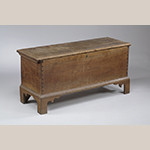 "Fig. 22: Chest by the Shop of Henry Macy and Frederick Fentress with David Pritchett and Samuel Brazelton, 1816, Guilford Co., NC. Signed ""State of North Carolina/Gilford County/September 30, 1816/Drawer made by/Samuel Brazelton/David Pritchett."" Walnut with tulip poplar; HOA: 21"", WOA: 44"", DOA: 16"" Private Collection; MESDA Object Database file D-30509."