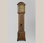 "Fig. 31: Tall case clock with case attributed to Henry Macy and works by Thomas Swain, 1797, Guilford Co., NC. Walnut; HOA: 87-1/2"", WOA: 19-5/8"", DOA: 12"". Collection of Springfield Monthly Meeting, High Point, NC; MESDA Object Database file D-33230."