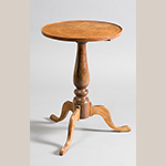 "Fig. 40: Candlestand by Henry Macy, 1810–1820, Guilford Co., NC. Descended in the Henry Macy family. Walnut; HOA: 24"", WOA: 17"". Private Collection; MESDA Object Database file D-31852."