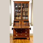 "Fig. 46: Desk and bookcase by Henry Macy, 1800–1820, Guilford Co., NC. Descended in the Hockett family of Guilford County. Walnut with tulip poplar; HOA: 95-3/4"", WOA 42"", DOA 22"". Private Collection; MESDA Object Database file D-31850."