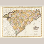 "Fig. 23: ""Map of North & South Carolina,"" Henry S. Tanner (publisher), 1823, Philadelphia, PA. Ink on paper; HOA: 56 cm, WOA: 75 cm. North Carolina Collection, University of North Carolina at Chapel Hill, Cm912 1823t c.2. Online: http://dc.lib.unc.edu/cdm/singleitem/collection/ncmaps/id/380/rec/3 (accessed 27 May 2014)."