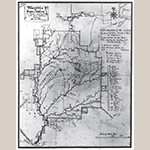 """Fig. 1: """"Wachovia or DOBBS PARISH, in Rowan County N. Car.,"""" surveyed and drawn by Christian Gottlieb Reuter, 1766, Wachovia Area, NC. Ink on paper. Collection of the Moravian Archives, Southern Province, Winston-Salem, NC, MESDA Object Database file S-603."""