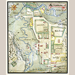 Fig. 2: Plan of Bethabara, North Carolina, surveyed and drawn by Christian Gottlieb Reuter, 1766, Wachovia Area, NC. Ink and watercolor on paper. Collection of the Moravian Archives, Southern Province, Winston-Salem, NC, MESDA Object Database file S-2727.